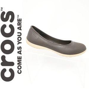 Crocs Women's Size 7 Brown Faux Fur Lined Flats..